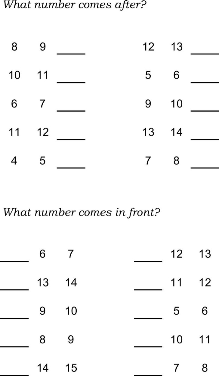 Right Order Missing Numbers Worksheet Template