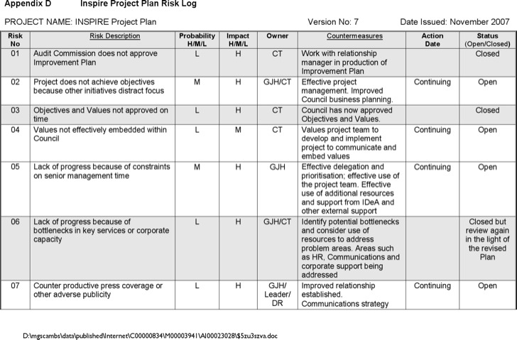 Risk Project Log Template