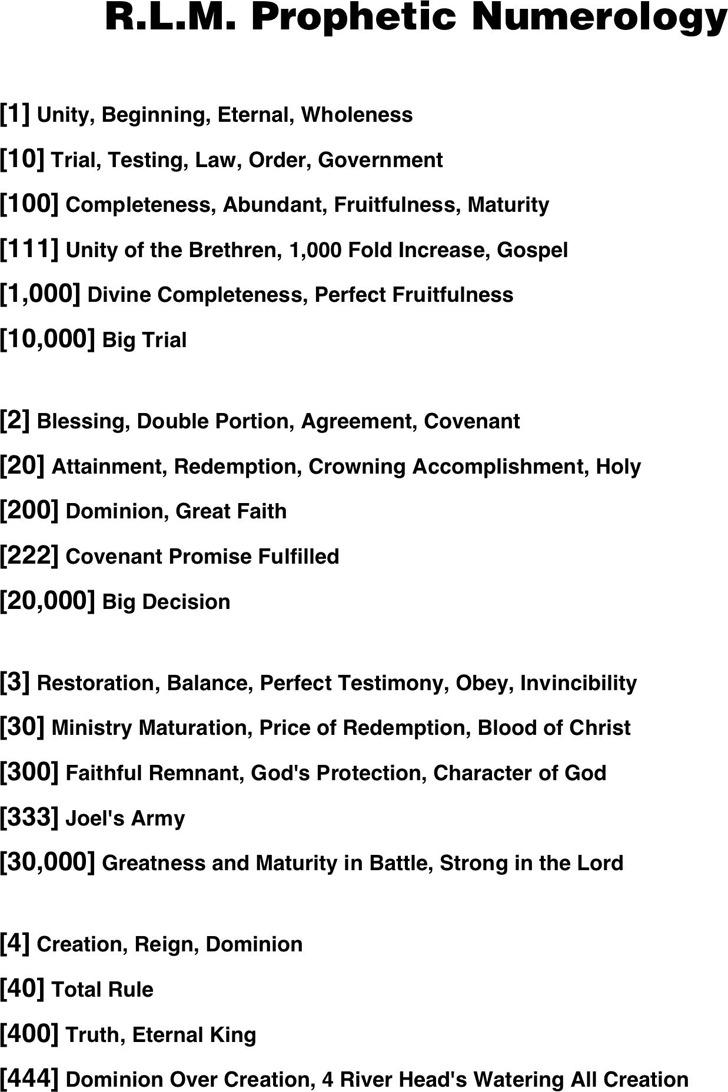 RLM Prophetic Numerology