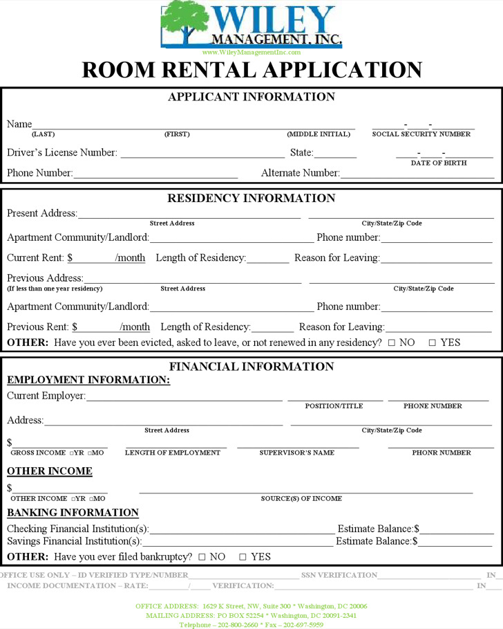 Room Rental Application Template
