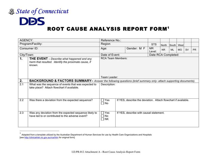 Root Cause Report Form Template Word Doc