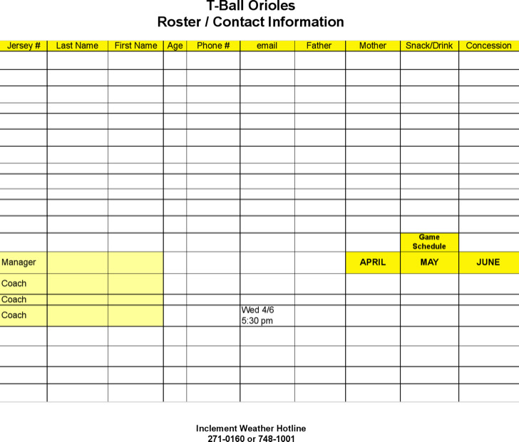 Roster Game Snack Schedule