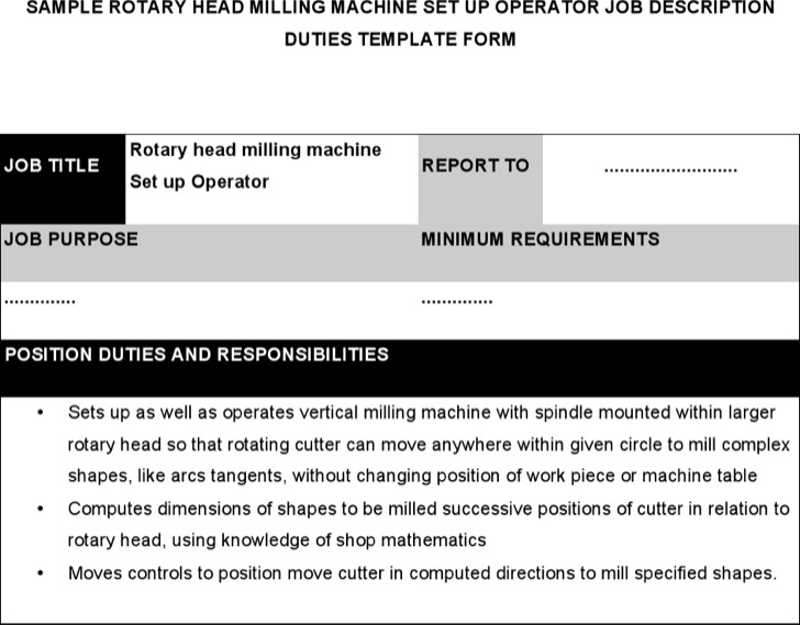 Rotary Head Milling Machine Set Up Operator Job Description