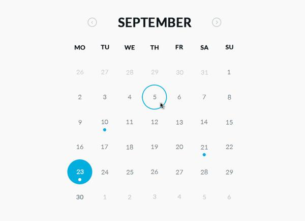 Round Calendar HTML and CSS Format