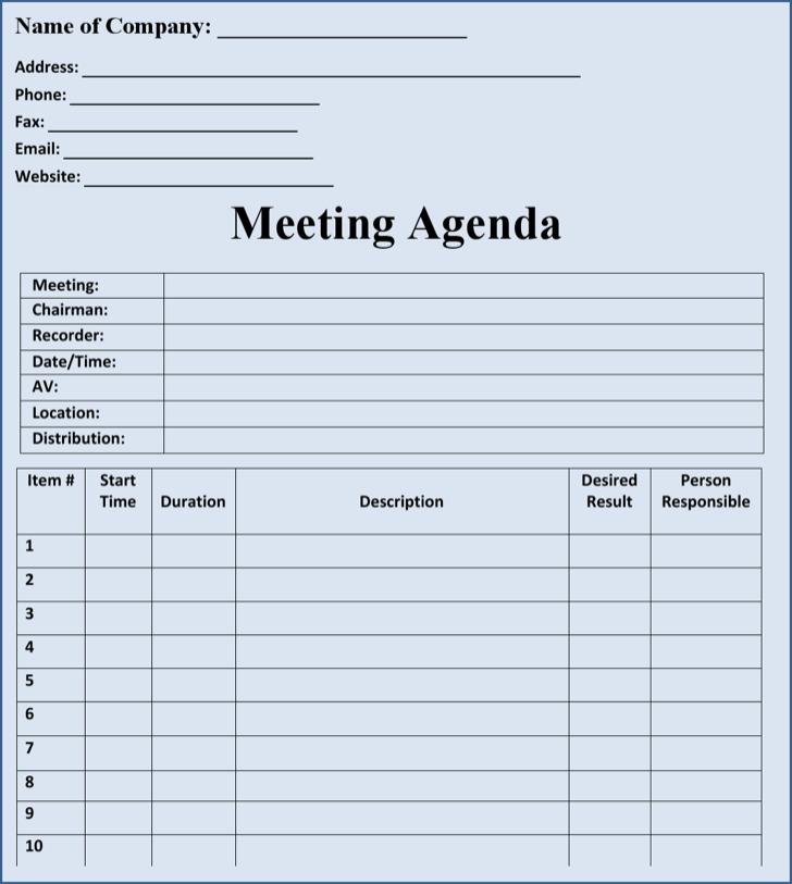 Routine Blank Meeting Agenda Sample Template