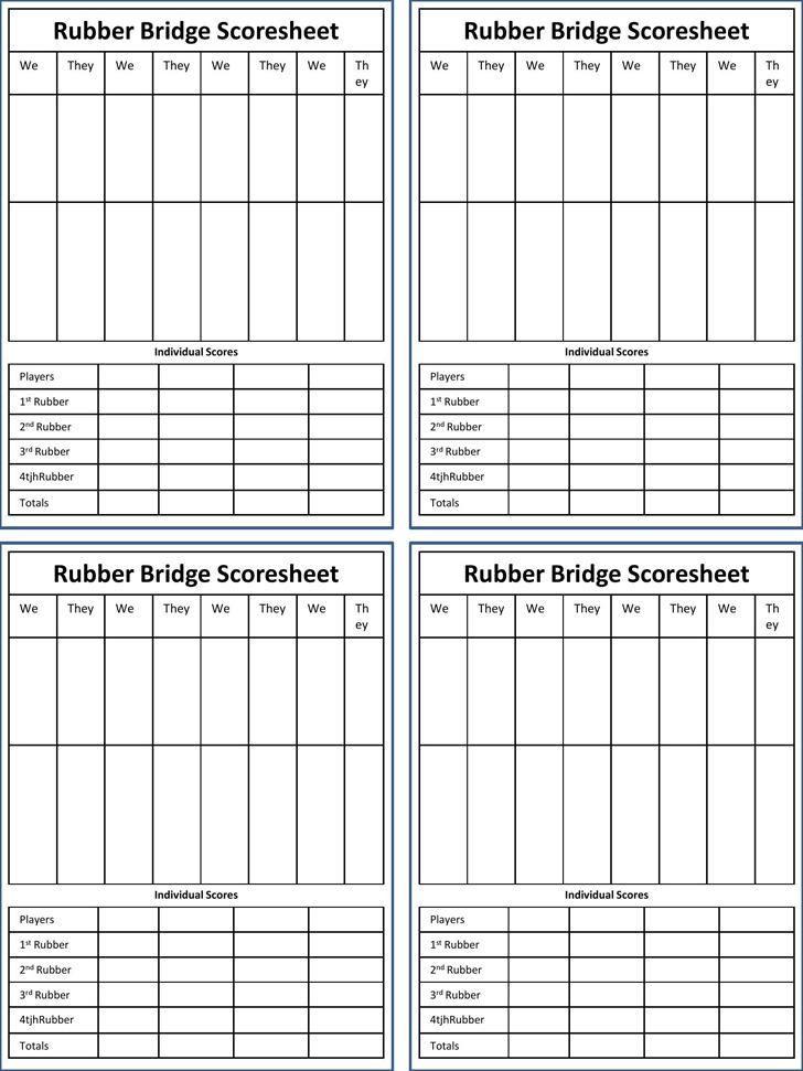 Rubber Bridge Scoresheet
