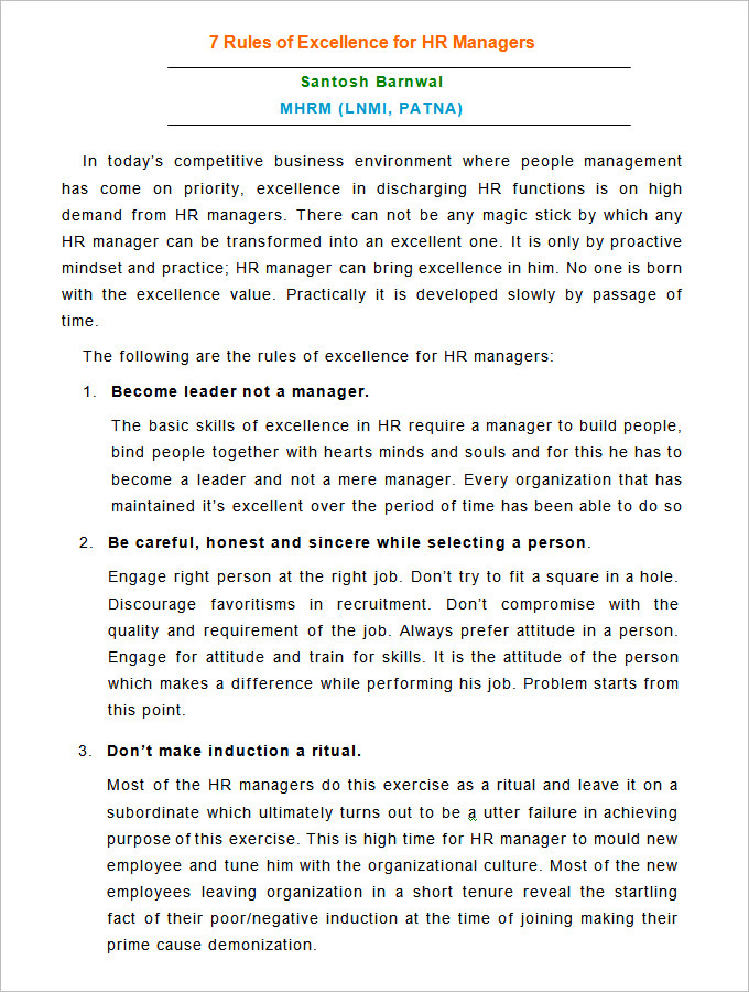 Rules of Excellence for HR Managers