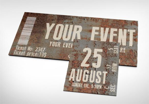 Rusty Event Ticket Template Printable