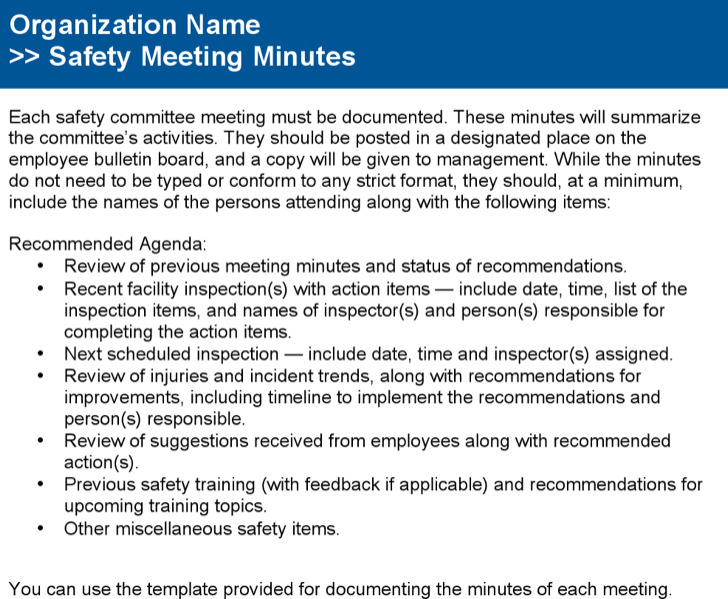 Safety Committee Meeting Notes And Agenda Example