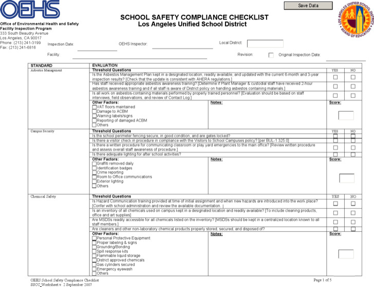 Safety Compliance Checklist Template
