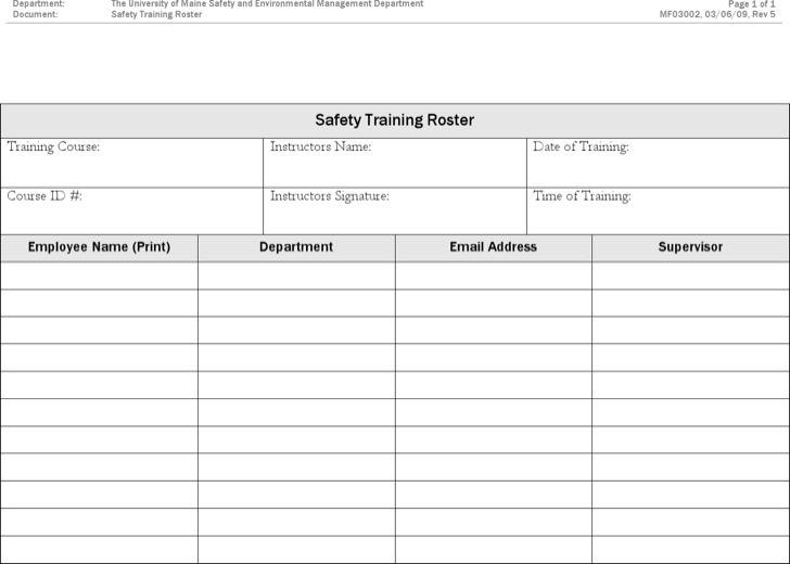 Safety Training Roster Template