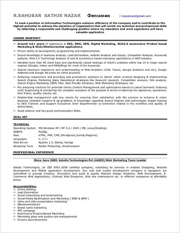 Sahubar Sathik SEO Resume