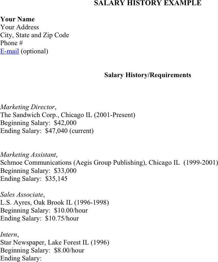 3 salary history example free download for Salary history template hourly