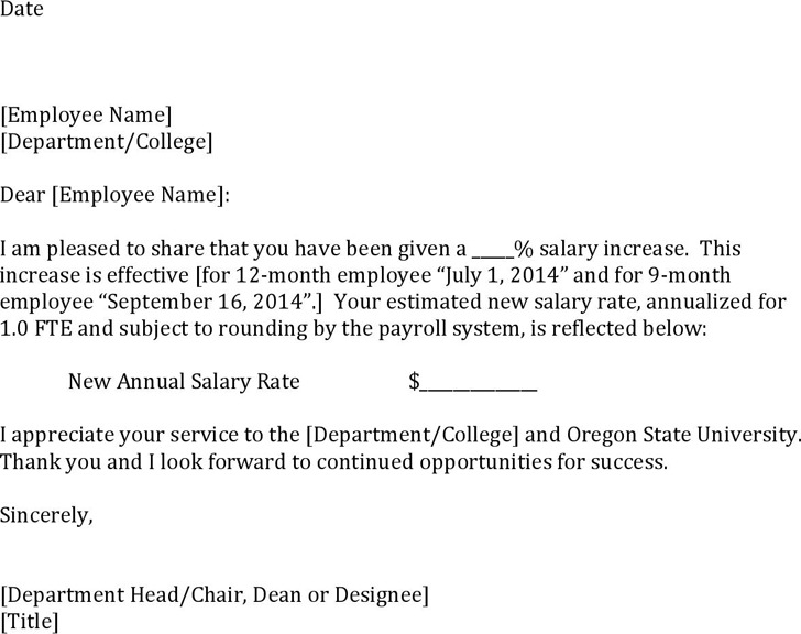 Salary Increase Model Letter