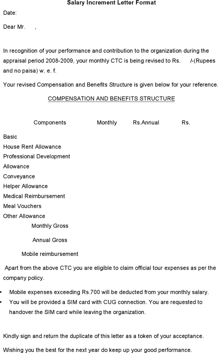 Salary Increment Letter Template Format