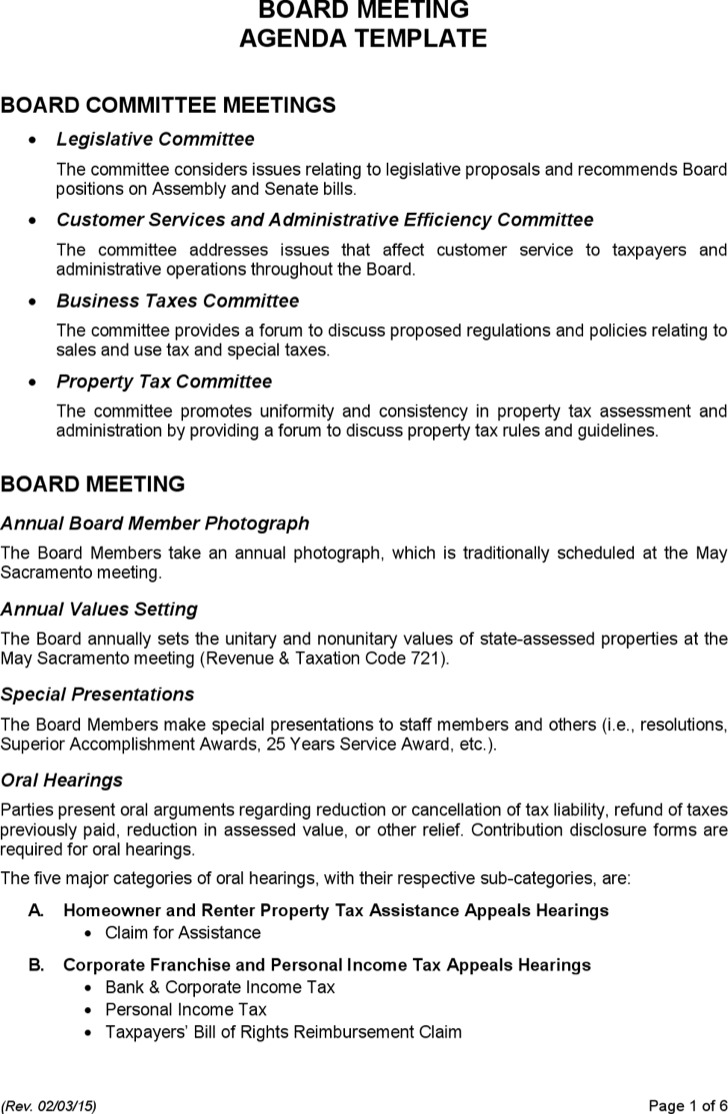 Sales Budget Meeting Agenda Sample