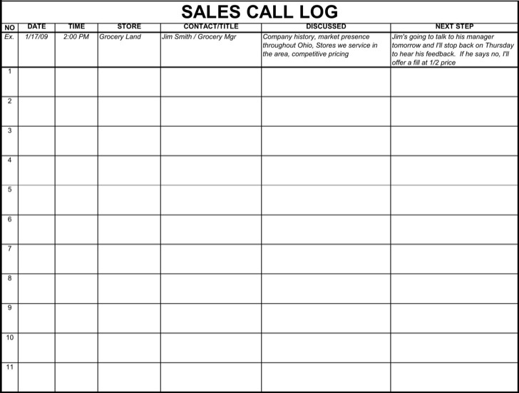 Sales Call Log Template1