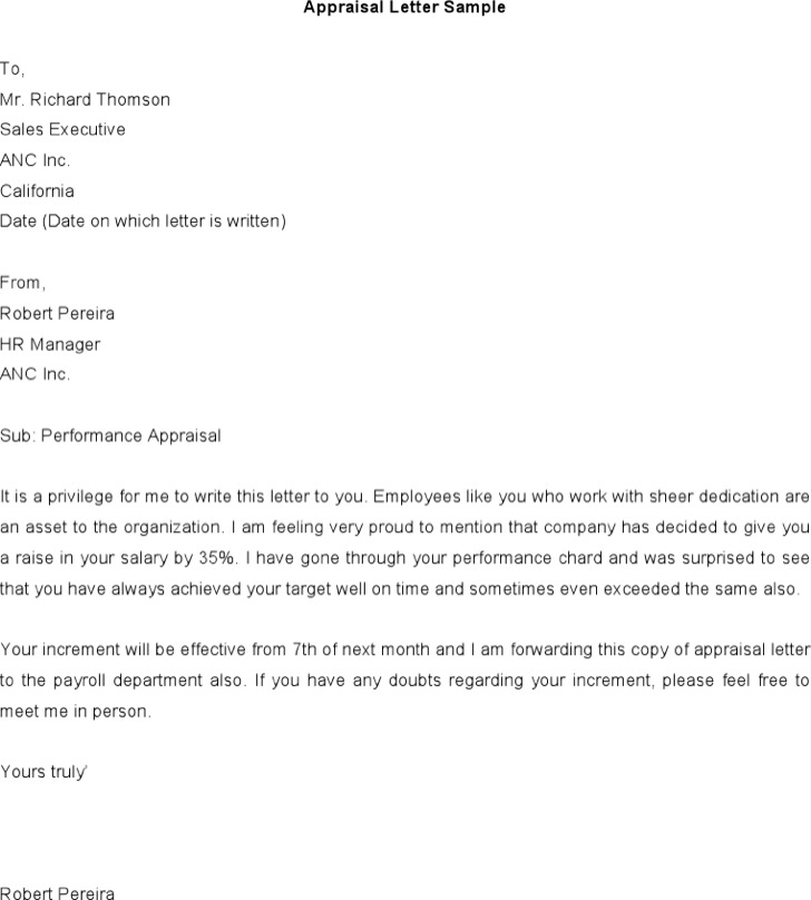 Sales Executive Appraisal Letter Sample Word Format