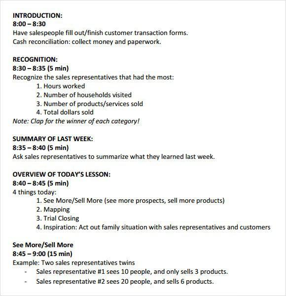 Sales Meeting Agenda Template PDF Format Download