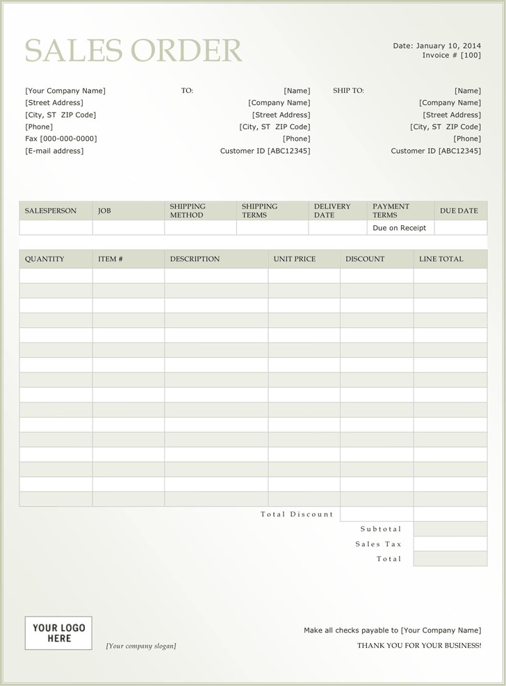 Sales Order Template 3