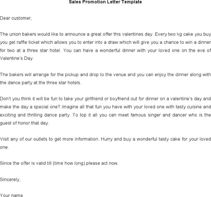 Sales Promotion Letter Sample Word Doc