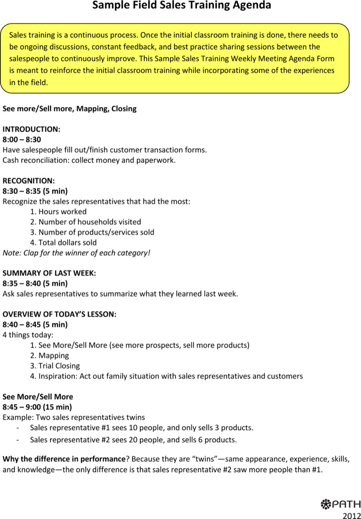 Sales Training Meeting Agenda