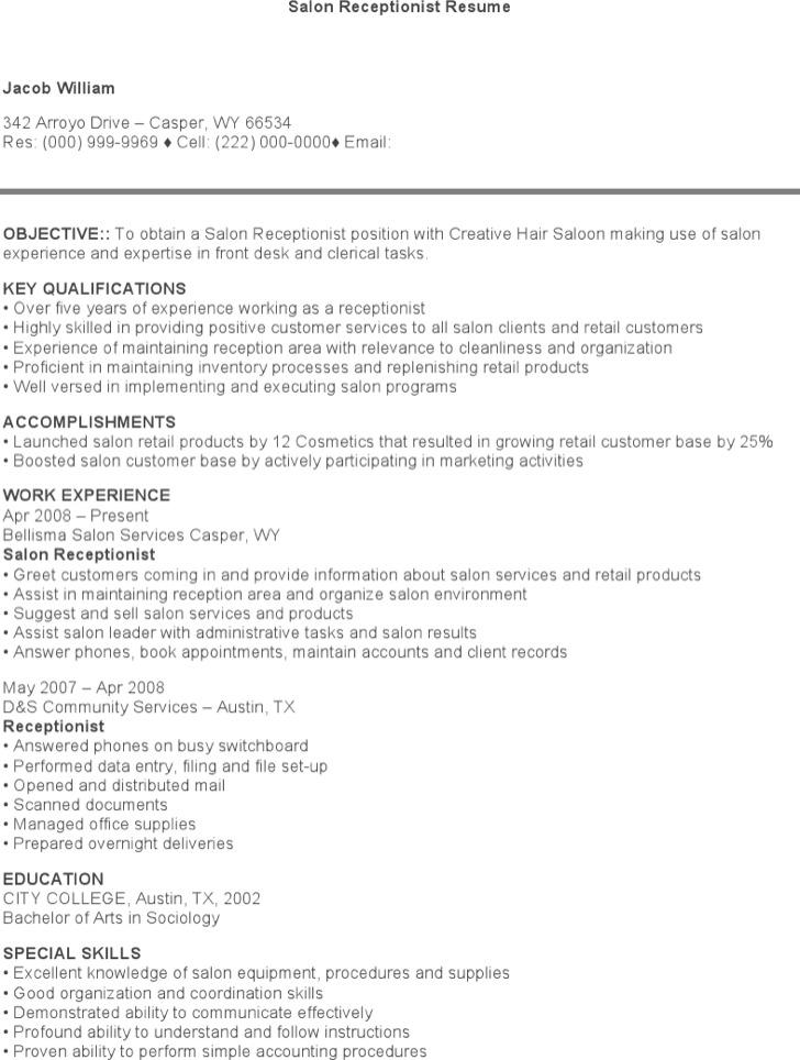 Salon Receptionist Resume