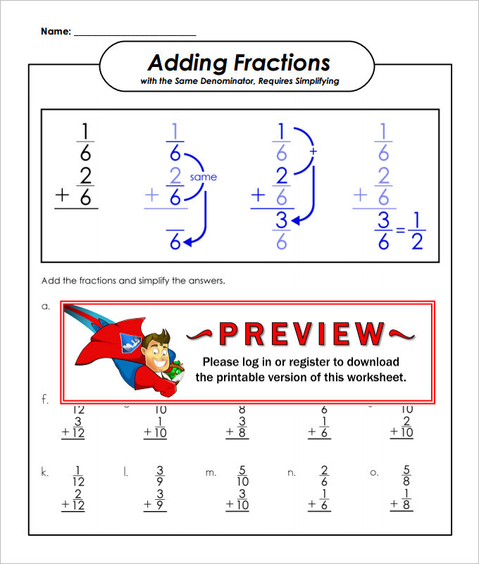 Same Denominator Adding Fractions Worksheet Template