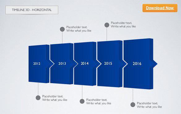 Sample 3D Timeline Horizontal Keynote Template