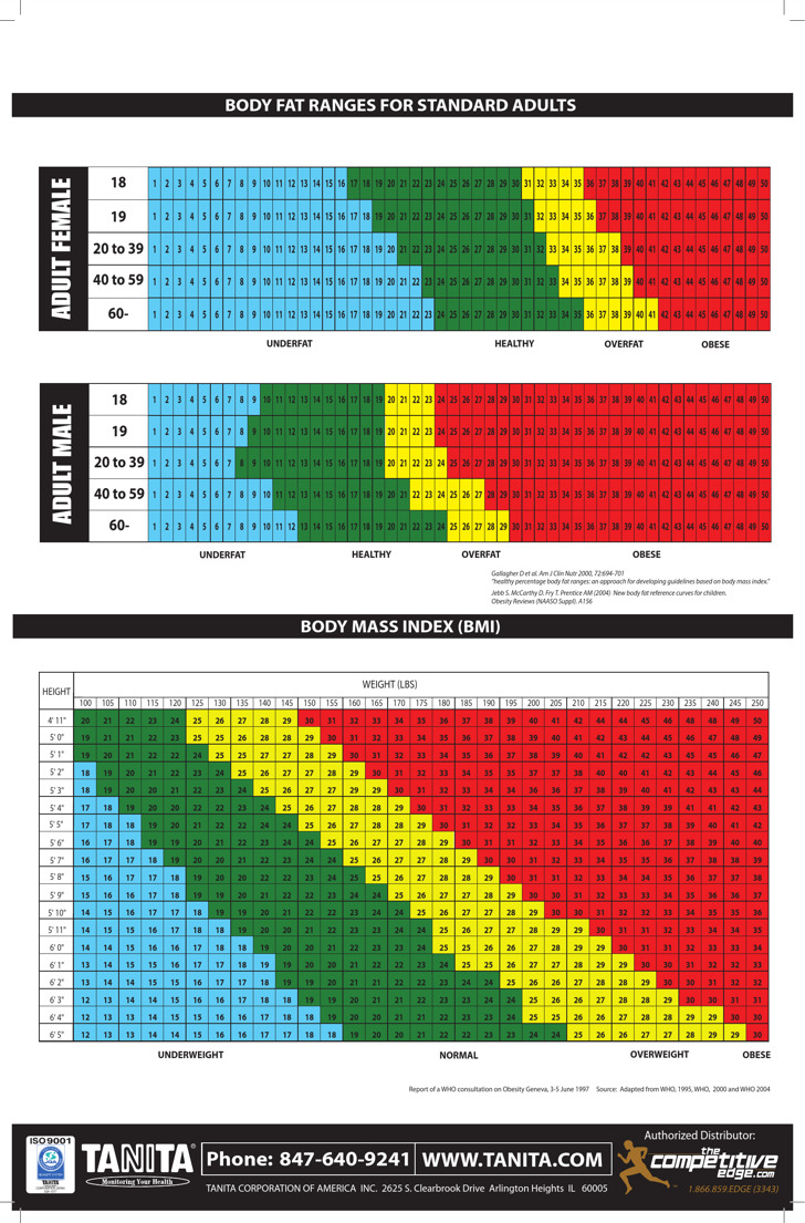 Sample 4Point Body Fat Measurement Chart