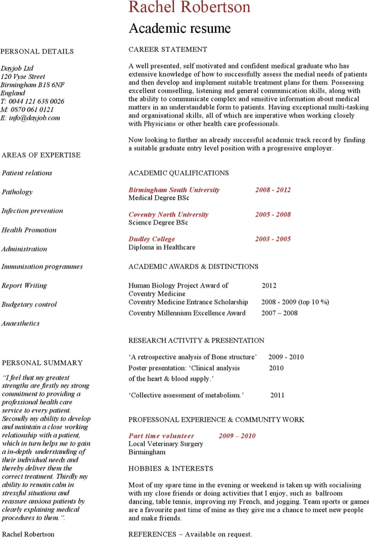 Sample Academic Resume Template