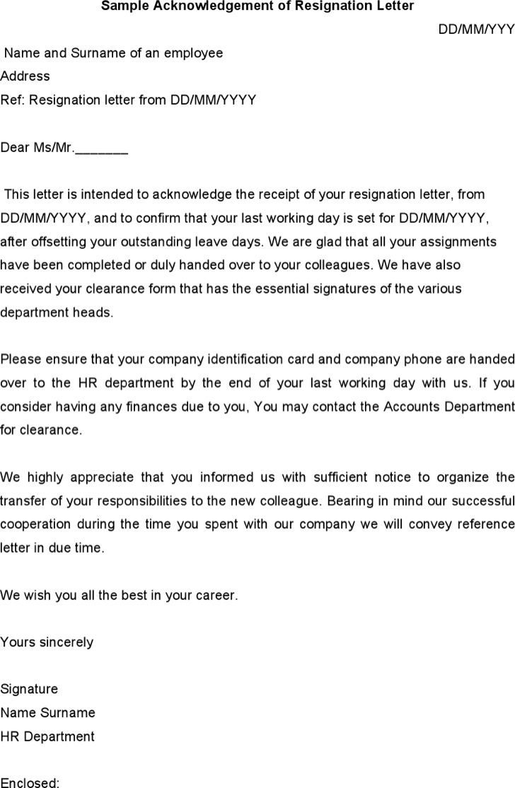 Sample Acknowledgement Of Resignation Letter