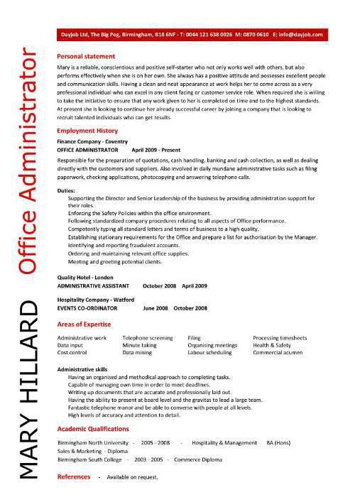 Sample Admin Resume Template