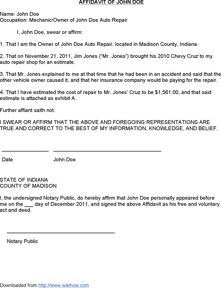 Sample Affidavit - Affidavit of John Doe
