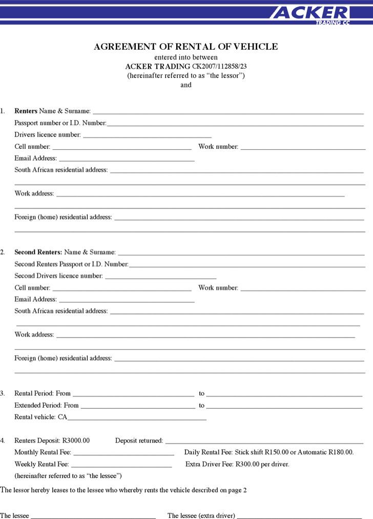 Sample Agreement Of Rental Of Vehicle
