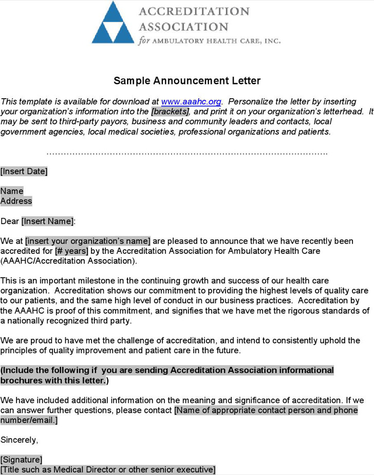 Download Announcement Letter Template for Free - TidyTemplates