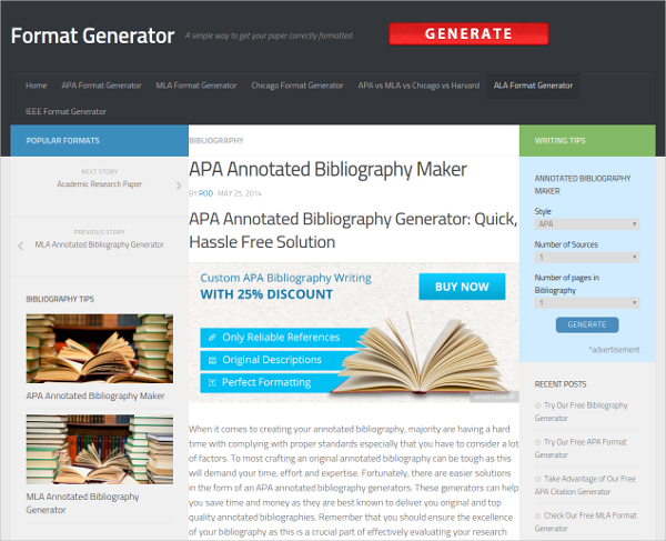 Sample APA Annotated Bibliography Maker Free Download