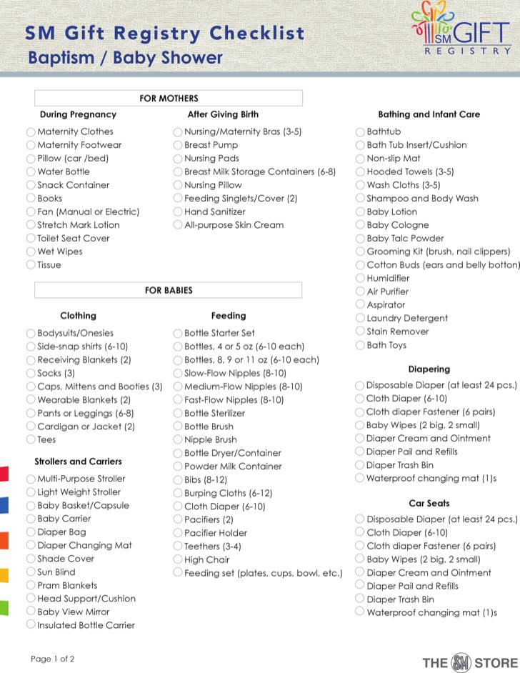 Sample Baby Shower Gift Registry Checklist