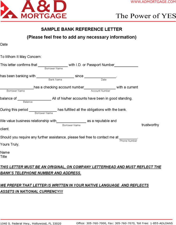 Sample Bank Reference Letter Pdf
