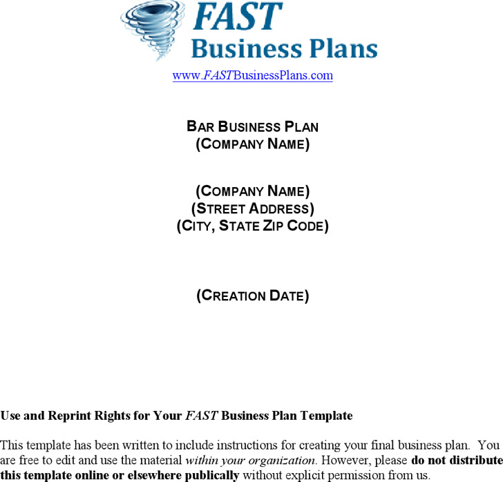 Sample Bar Business Plan Template