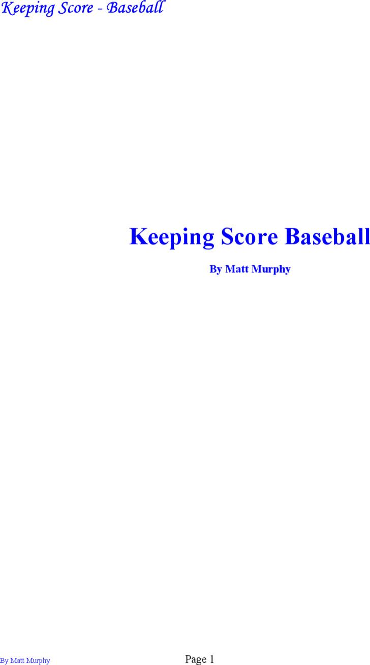 Sample Baseball Keeping Scorecard