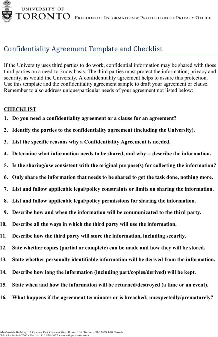 Sample Basic Confidentiality Agreement Template And Checklist