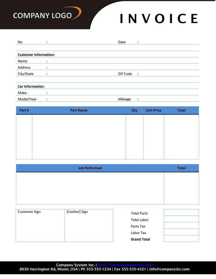 Sample Blank Invoice Estimate Template Free