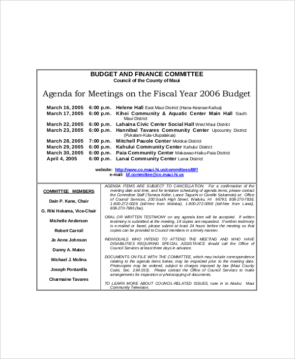 Sample Budget and Finance Committee Meeting Agenda