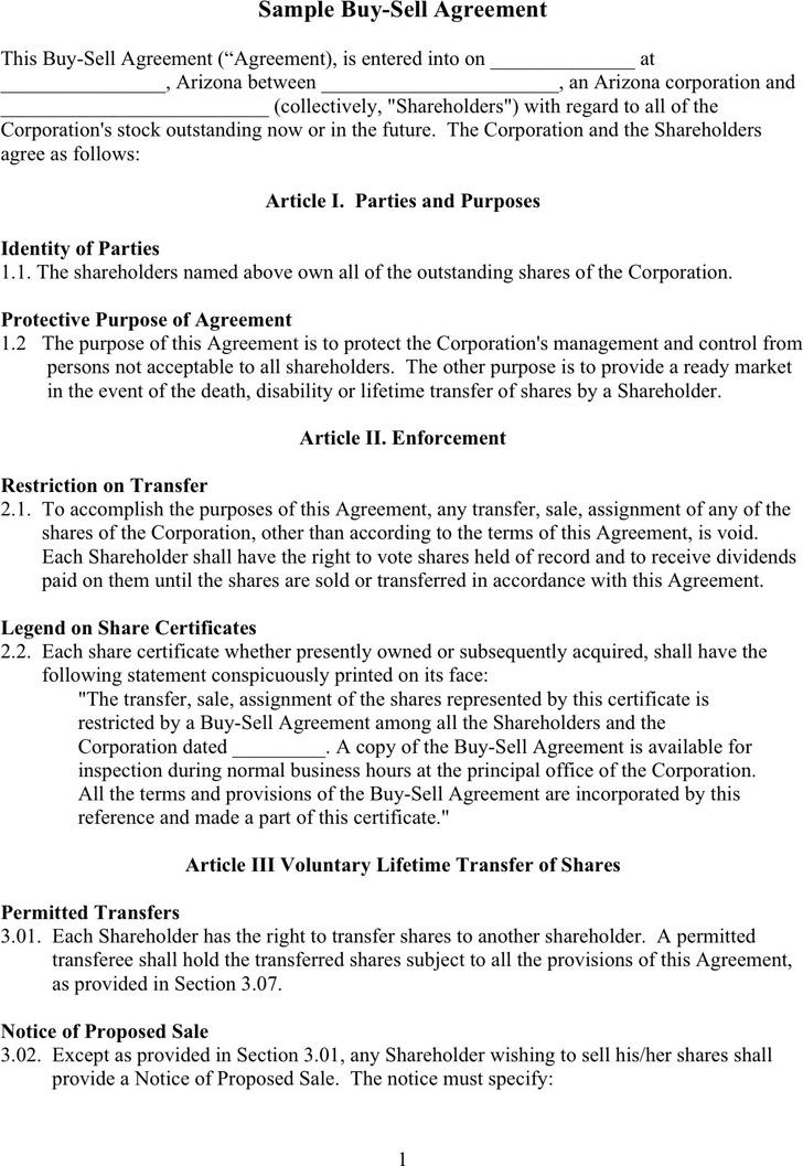 Sample Buy Sell Agreement 2