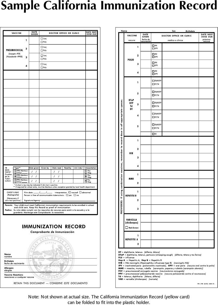 Sample California Immunization Record