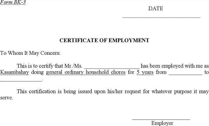 Sample Certificate Of Employment Downloa