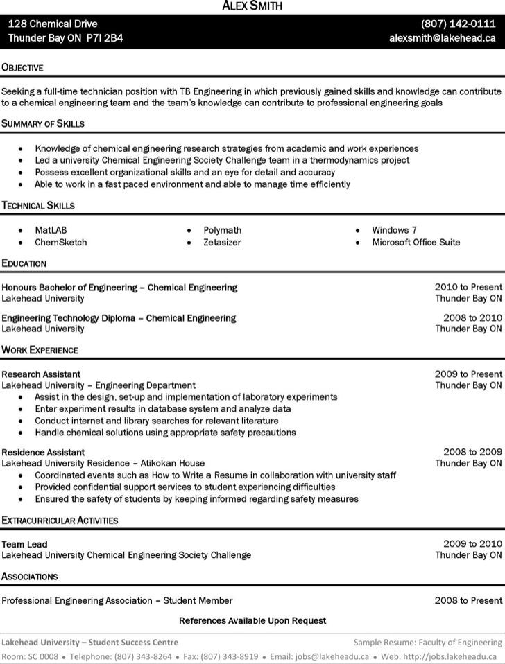 Sample Chemical Engineer Resume