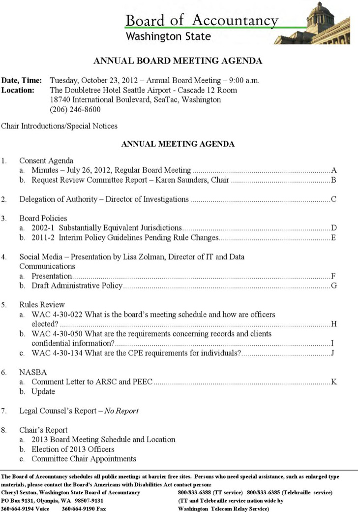Sample Client Annual Board Meeting Agenda
