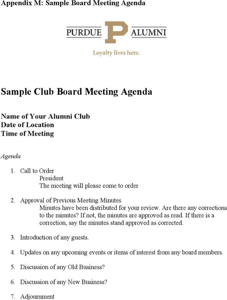 Sample Club Board Meeting Agenda